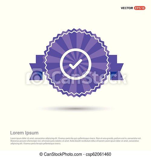 Check mark icon - Purple Ribbon banner - csp62061460