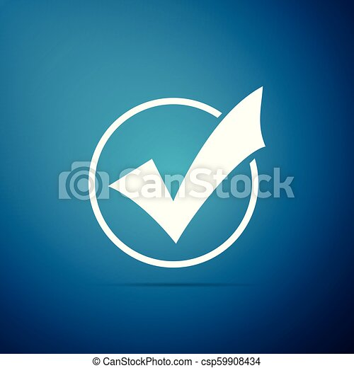 Check mark in round icon isolated on blue background. Check list button sign. Flat design. Vector Illustration - csp59908434