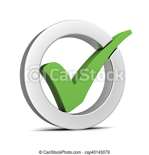 check mark isolated 3d illustration - csp40143079