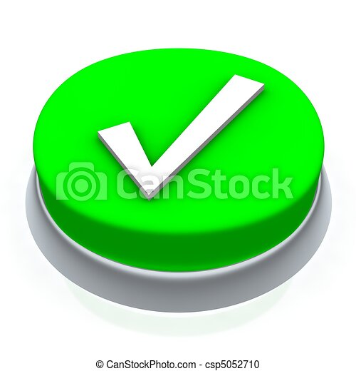 Check mark round button 3d. Isolated on white. - csp5052710