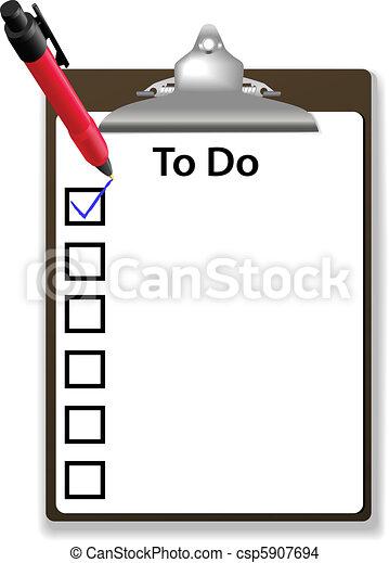Check mark To Do checklist clipboard copy space - csp5907694