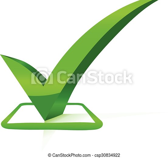 check mark with bevel effect green vector - csp30834922
