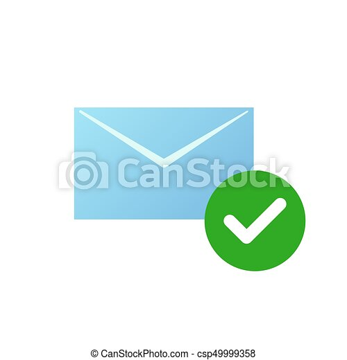 Check Message Icon Email Symbol With Green Checked Icon Check
