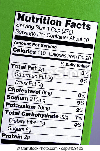 Check out the nutrition facts from the box - csp3459123