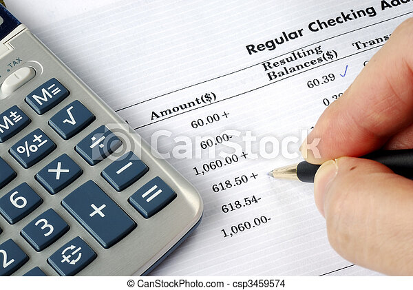 Check the bank statement and balance the account - csp3459574