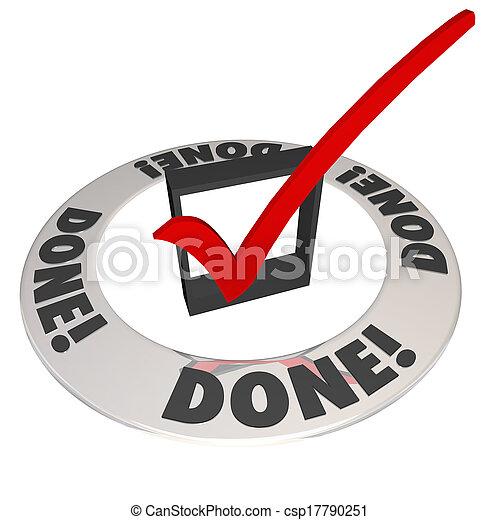 checkbox, vollständig, vollendung, mission, markierung, arbeit, gemacht, kontrollieren - csp17790251