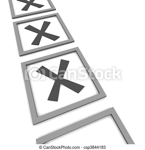 Checkboxes isolated on white. 3d rendered illustration. - csp3844183
