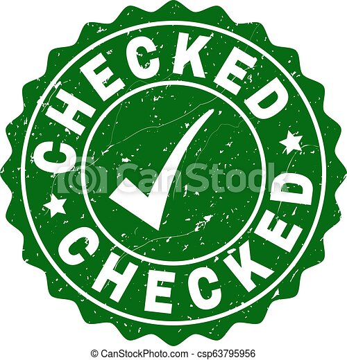 Checked Scratched Stamp with Tick - csp63795956
