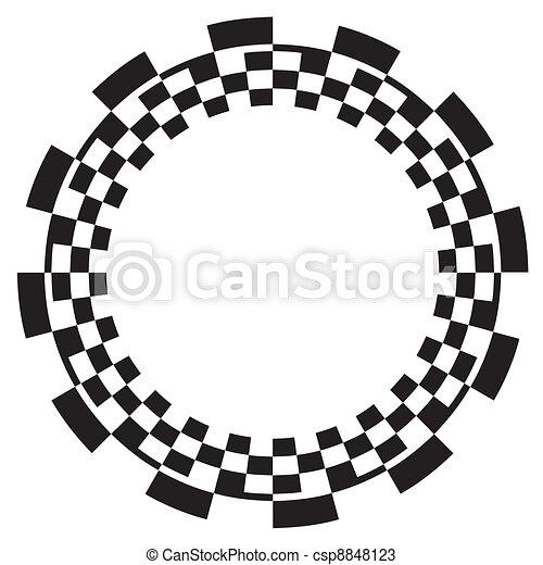 Checkerboard Frame Spiral Pattern Black On White Frame Circle