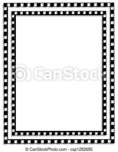 Checkered Border Black and white - csp1282685