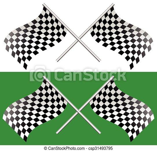 checkered, editable, ondeggiare, vettore, attraversato, flags., da corsa - csp31493795