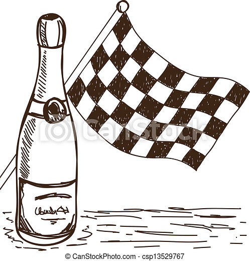 Checkered Flag And Champagne Drawing Illustration Of Checkered Flag