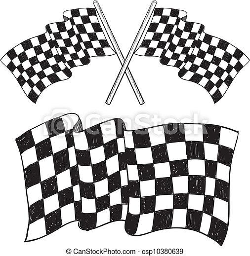 Checkered flag sketch - csp10380639
