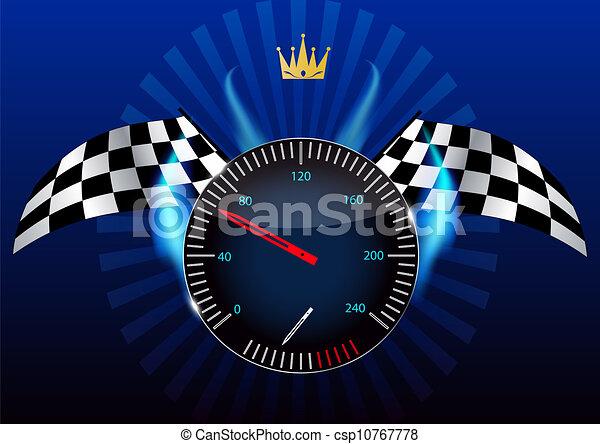 Checkered flag, speedometer. Vector Illustration. - csp10767778