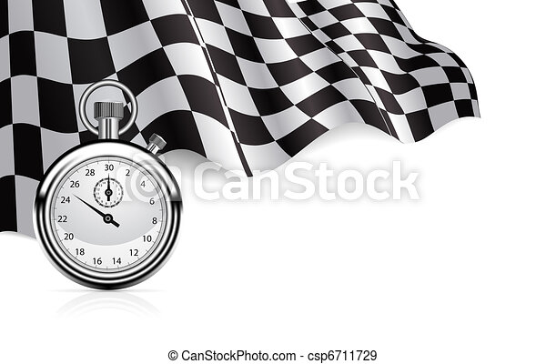 Checkered flag with a stopwatch background - csp6711729