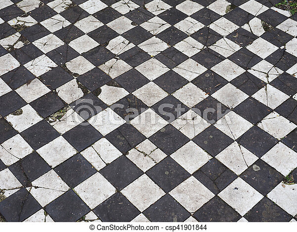 Checkered Floor Texture Vintage Black And White Checkered Floor