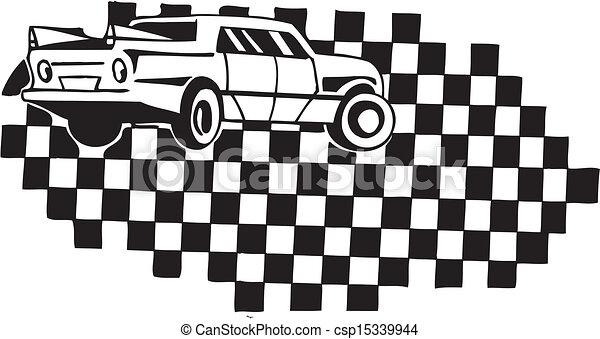 checkered, illustration., car, vetorial, flag., correndo - csp15339944