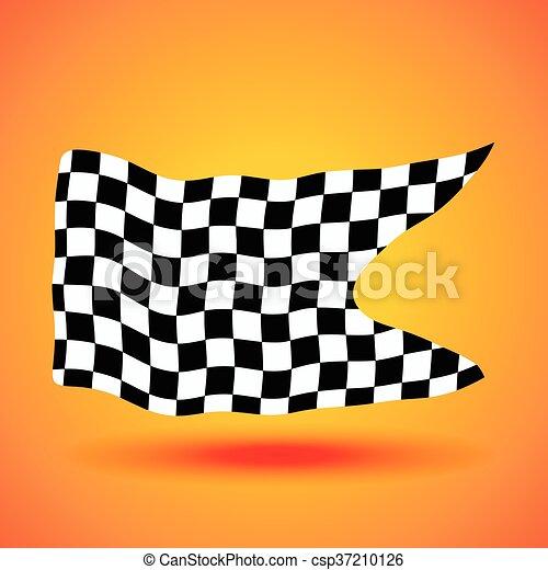 checkered, ilustração, bandeira, vetorial, fundo, correndo - csp37210126
