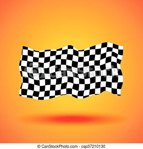 checkered, ilustração, bandeira, vetorial, fundo, correndo - csp37210130