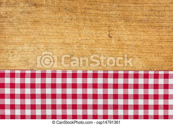 checkered, legno, rustico, fondo, tovaglia, rosso - csp14791361