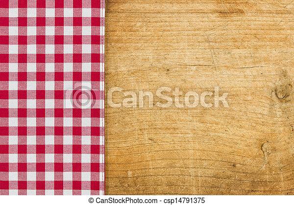 checkered, legno, rustico, fondo, tovaglia, rosso - csp14791375