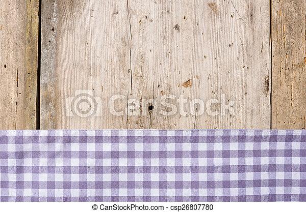 checkered, legno, rustico, fondo, viola, tovaglia - csp26807780