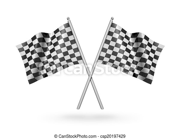 Checkered racing flags. 3d illustration  - csp20197429