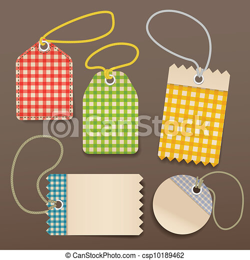 checkered shopping tags with rope - csp10189462