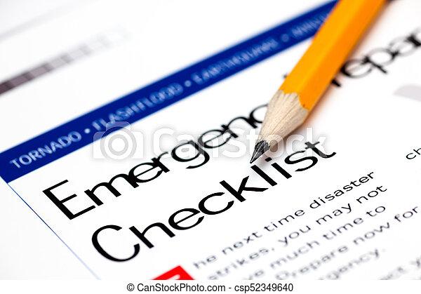 checklist, beredskab, pencil., gul, nødsituation - csp52349640
