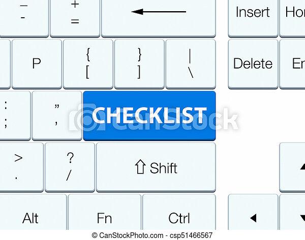 Checklist blue keyboard button - csp51466567