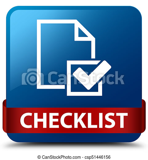 Checklist blue square button red ribbon in middle - csp51446156