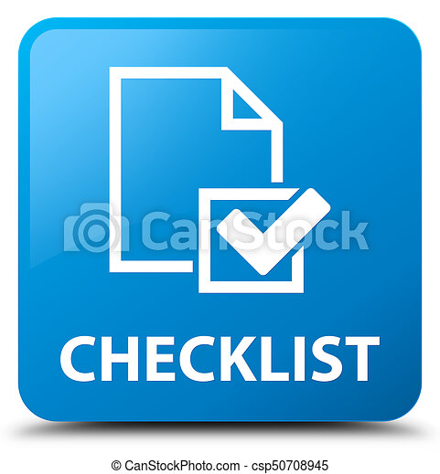 Checklist cyan blue square button - csp50708945
