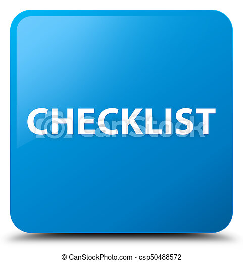 Checklist cyan blue square button - csp50488572