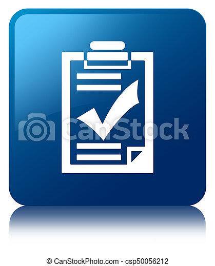 Checklist icon blue square button - csp50056212