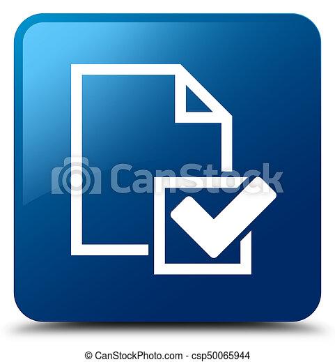 Checklist icon blue square button - csp50065944