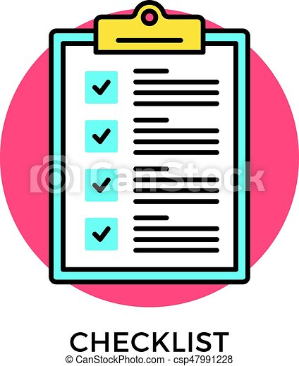 checklist icon check list clipboard with checkboxes and checkmarks modern flat design thin line