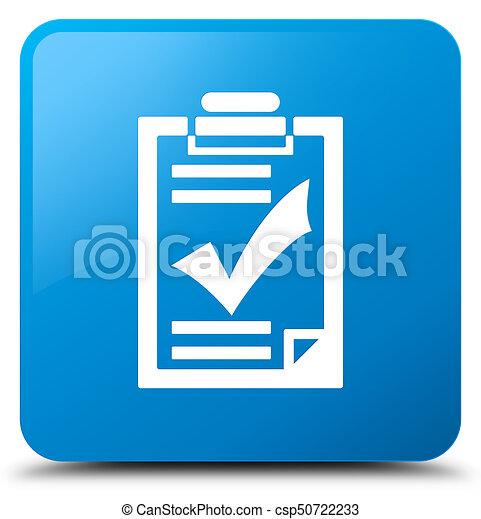 Checklist icon cyan blue square button - csp50722233