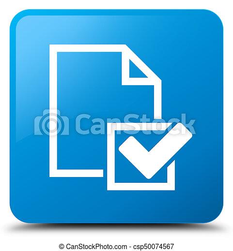 Checklist icon cyan blue square button - csp50074567