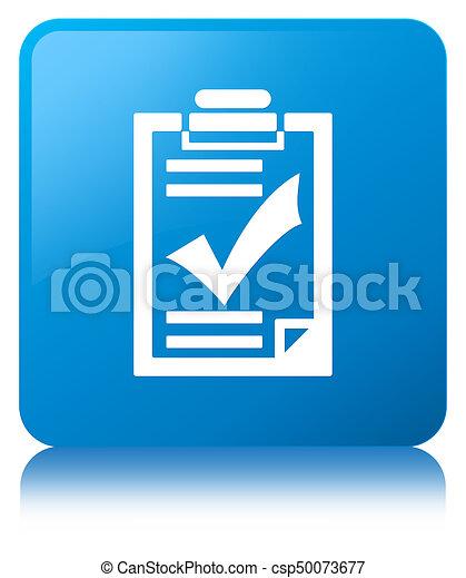 Checklist icon cyan blue square button - csp50073677