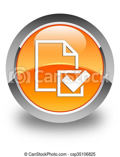 Checklist icon glossy orange round button 2 - csp35106825