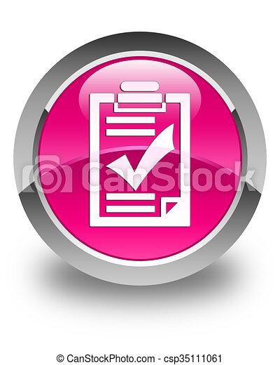 Checklist icon glossy pink round button - csp35111061