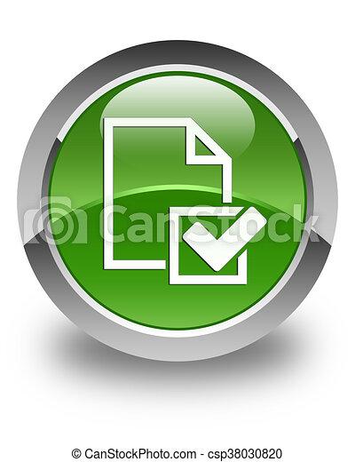 Checklist icon glossy soft green round button - csp38030820