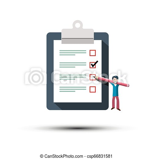 Checklist Icon. Man with Pancel and Paper Notebook Symbol. To Do List Concept. - csp66831581