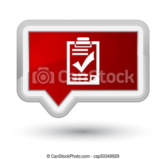 Checklist icon prime red banner button - csp50349929