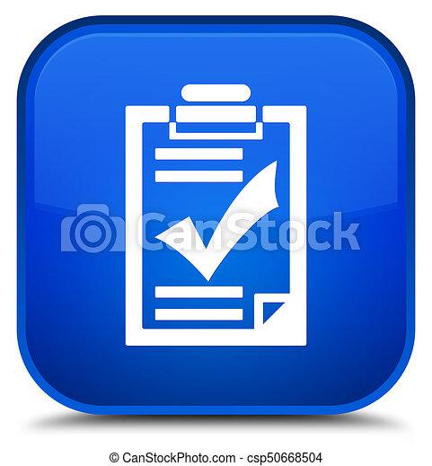 Checklist icon special blue square button - csp50668504