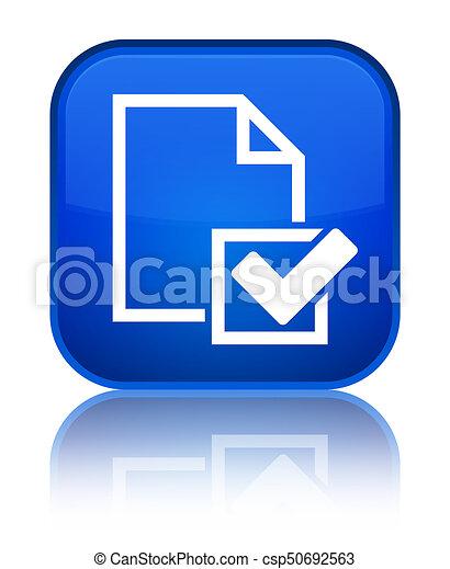 Checklist icon special blue square button - csp50692563