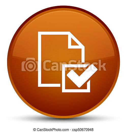 Checklist icon special brown round button - csp50670948