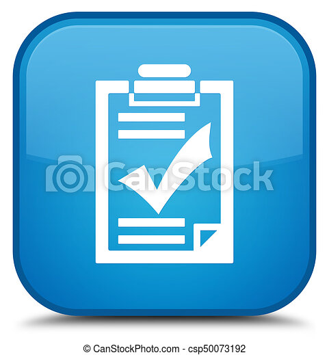 Checklist icon special cyan blue square button - csp50073192
