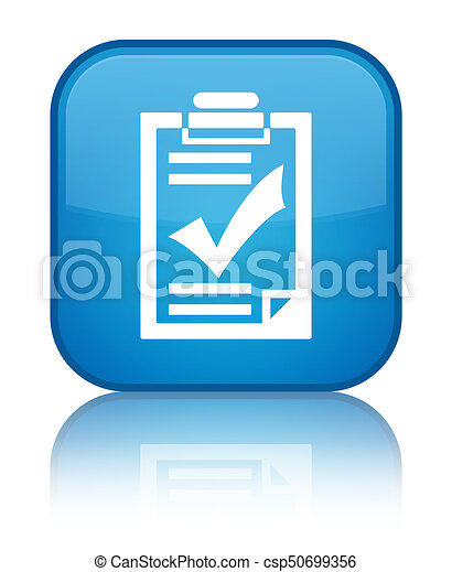 Checklist icon special cyan blue square button - csp50699356