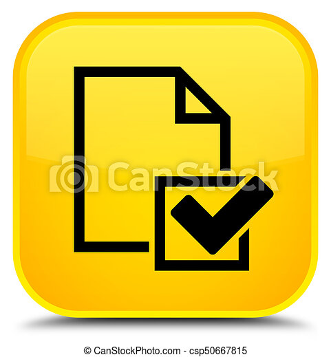 Checklist icon special yellow square button - csp50667815